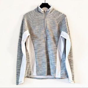 Athleta | Snowscape Quilted Half Zip Sweater L